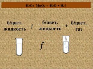 б/цвет. жидкость + → б/цвет. газ б/цвет. жидкость → H2O2 MnO2→ H2O + H2↑