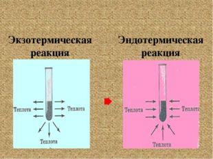 Экзотермическая реакция Эндотермическая реакция