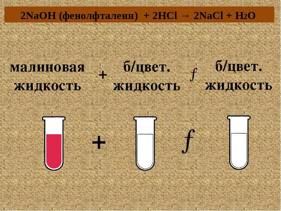 малиновая жидкость + б/цвет. жидкость → б/цвет. жидкость → + 2NaOH (фенолфтал...