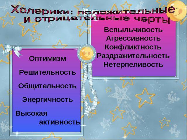 Оптимизм Решительность Общительность Энергичность Высокая активность Вспыльч...
