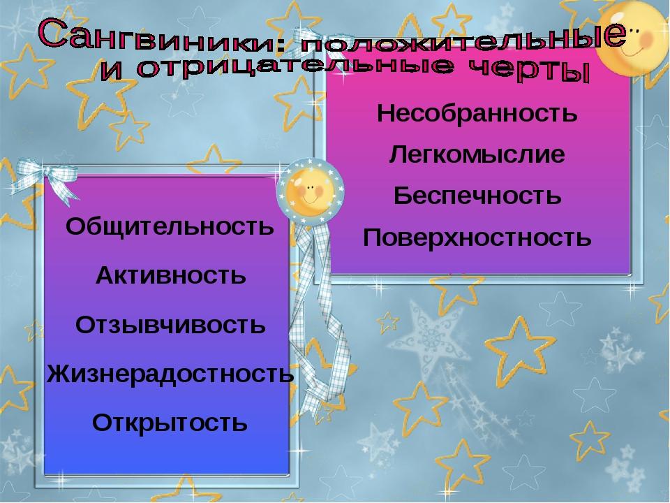 Общительность Активность Отзывчивость Жизнерадостность Открытость Несобраннос...