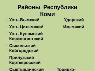 Районы Республики Коми Усть-Вымский Удорский Усть-Цилемский Ижемский Усть-Кул
