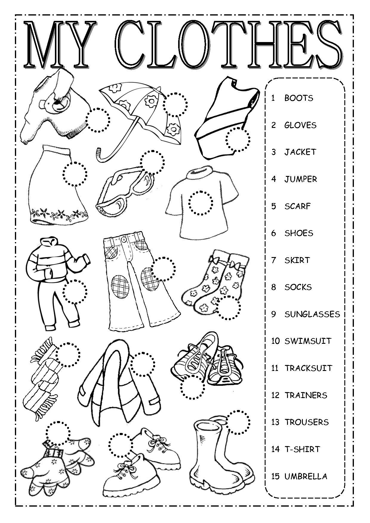 Английский язык упражнения на тему одежда