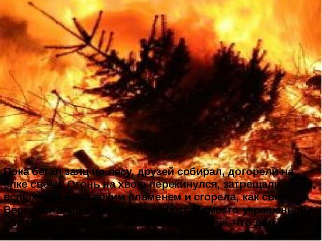 Пока бегал заяц по лесу, друзей собирал, догорели на елке свечи. Огонь на хво...