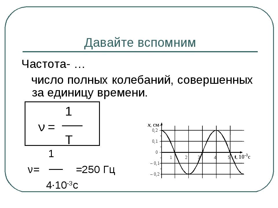 Давайте вспомним Частота- … число полных колебаний, совершенных за единицу вр...