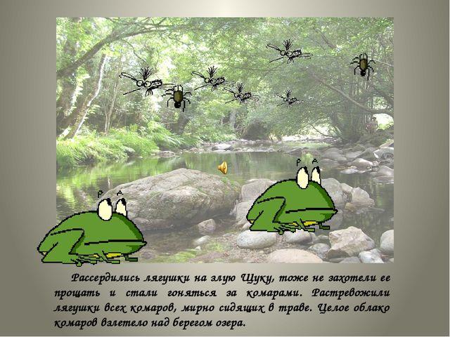 Рассердились лягушки на злую Щуку, тоже не захотели ее прощать и стали гонят...