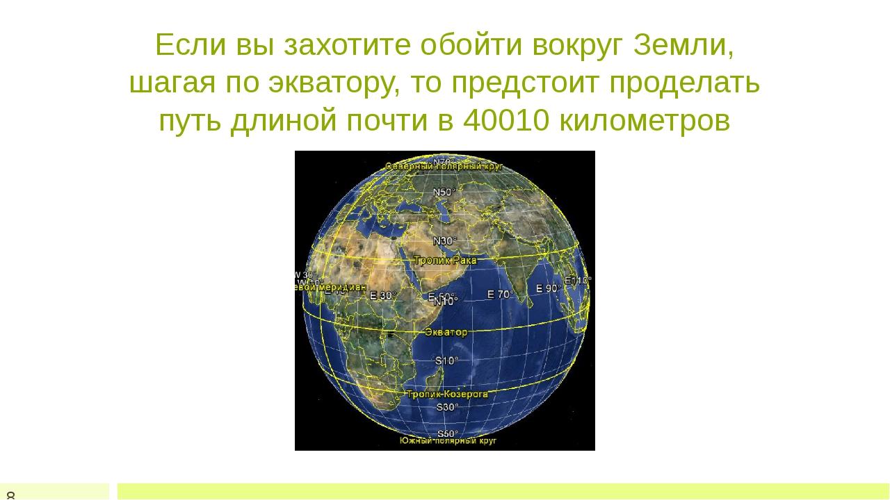 Если вы захотите обойти вокруг Земли, шагая по экватору, то предстоит продела...