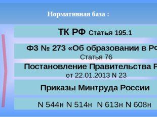 Нормативная база : ТК РФ Статья 195.1 П Р О Ф С Т А Н Д А Р Т ФЗ № 273 «Об об