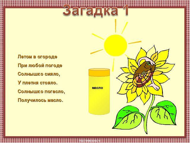 Летом в огороде При любой погоде Солнышко сияло, У плетня стояло. Солнышко по...