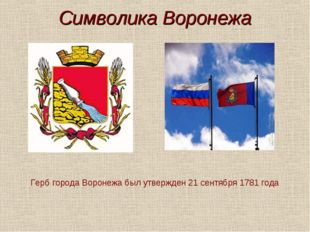 Символика Воронежа Герб города Воронежа был утвержден 21 сентября 1781 года
