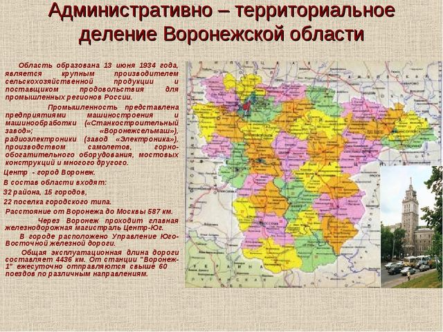 Административно – территориальное деление Воронежской области Область образов...