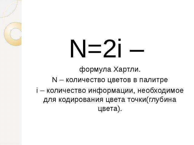 N=2i – формула Хартли. N – количество цветов в палитре i – количество информ...