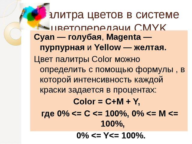 Палитра цветов в системе цветопередачи CMYK Cyan — голубая, Magenta — пурпурн...