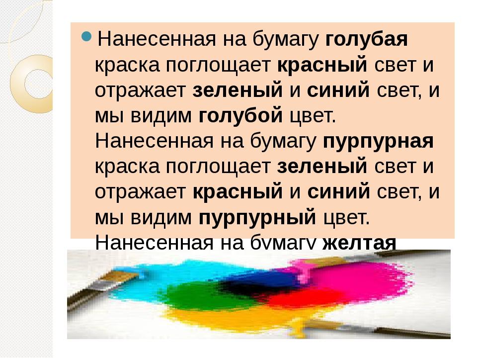 Нанесенная на бумагу голубая краска поглощает красный свет и отражает зеленый...