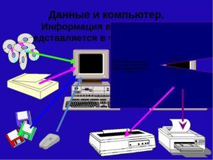 Данные и компьютер. Информация в компьютере представляется в числовой форме.