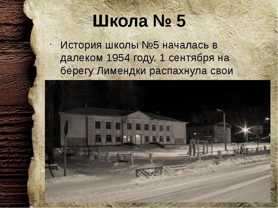 Школа № 5 История школы №5 началась в далеком 1954 году. 1 сентября на берегу...