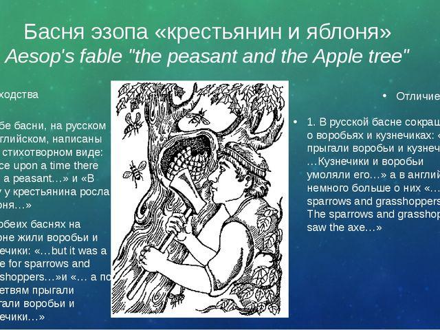 """Басня эзопа «крестьянин и яблоня» Aesop's fable """"the peasant and the Apple tr..."""