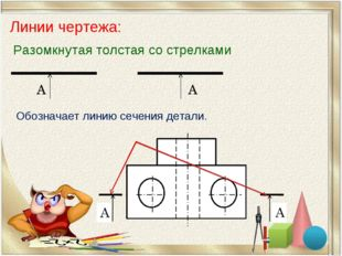 Линии чертежа: Разомкнутая толстая со стрелками Обозначает линию сечения дета
