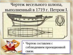 Чертеж весельного шлюпа, выполненный в 1719 г. Петром I. Чертеж составлен с с