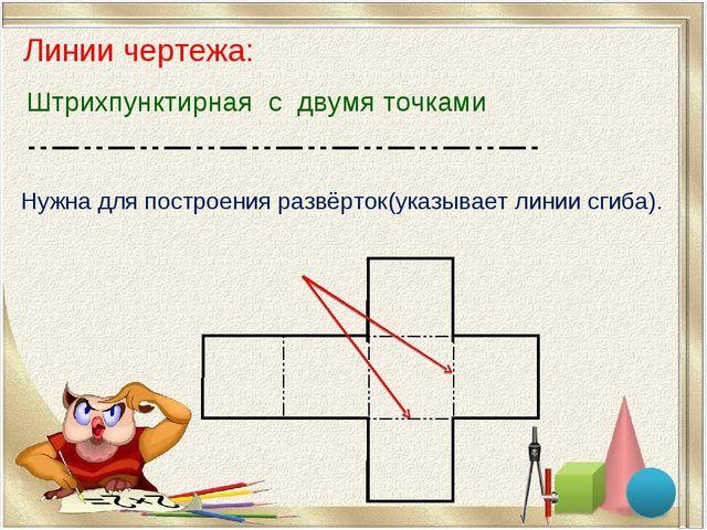 Линии чертежа: Нужна для построения развёрток(указывает линии сгиба). Штрихпу...