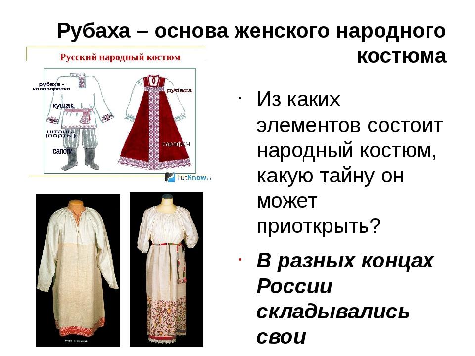 Рубаха – основа женского народного костюма Из каких элементов состоит народны...