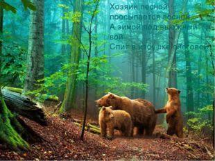 Хозяин лесной просыпается весной, А зимой под вьюжный вой Спит в избушке сн