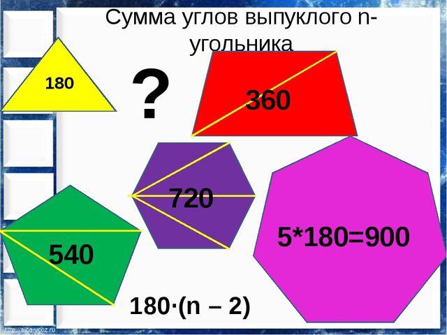 Сумма углов выпуклого n-угольника 180 ? 360 540 720 5*180=900 180∙(n – 2)