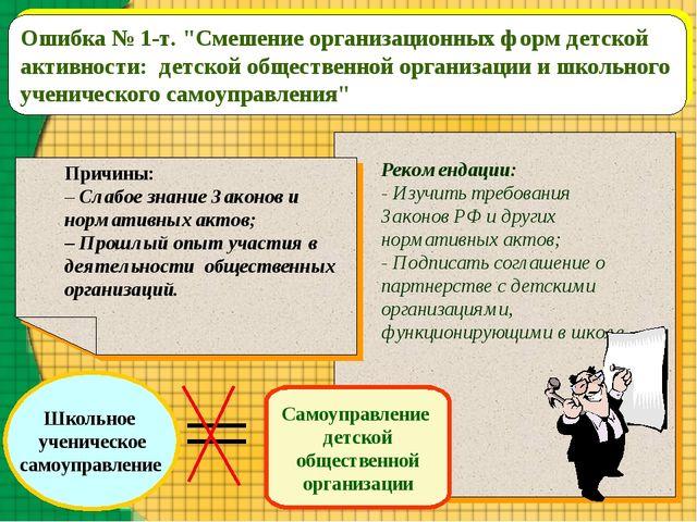 """Ошибка № 1-т. """"Смешение организационных форм детской активности: детской обще..."""