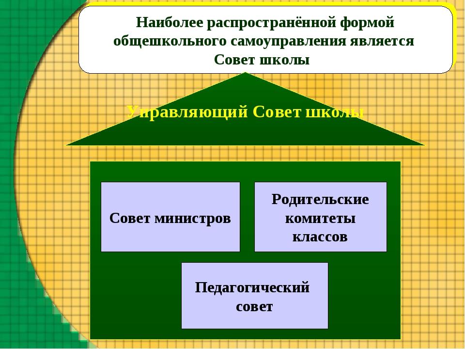 Наиболее распространённой формой общешкольного самоуправления является Совет...