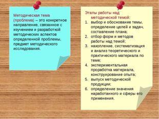 Методическая тема (проблема) – это конкретное направление, связанное с изучен