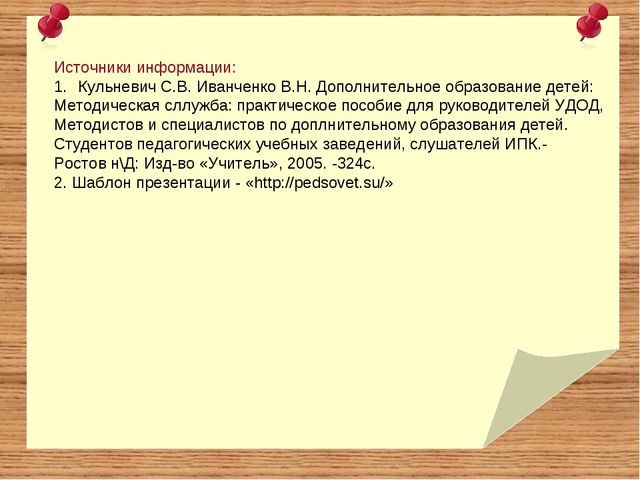 Источники информации: Кульневич С.В. Иванченко В.Н. Дополнительное образовани...