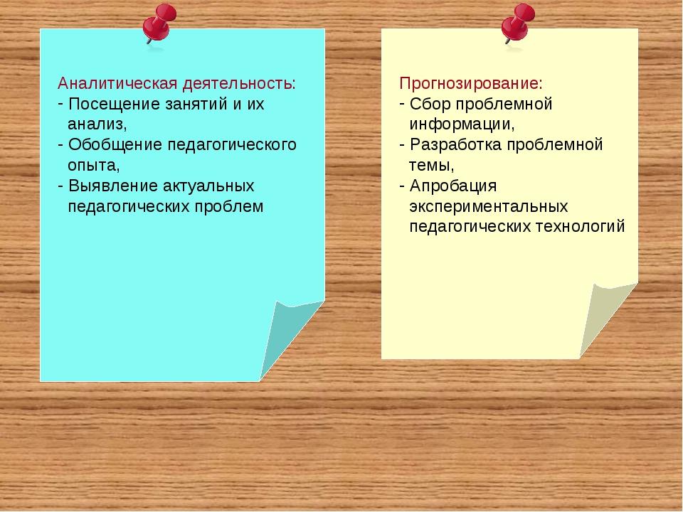 Аналитическая деятельность: Посещение занятий и их анализ, Обобщение педагоги...
