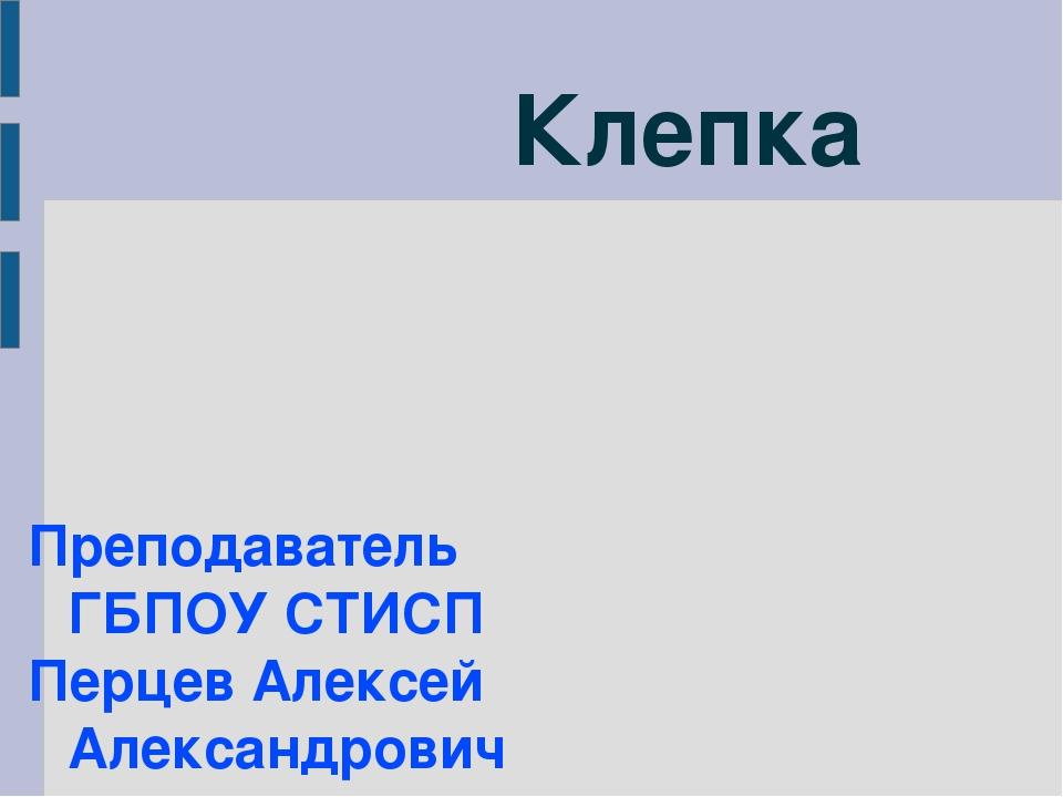 Клепка Преподаватель ГБПОУ СТИСП Перцев Алексей Александрович