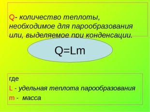 Q- количество теплоты, необходимое для парообразования или, выделяемое при к