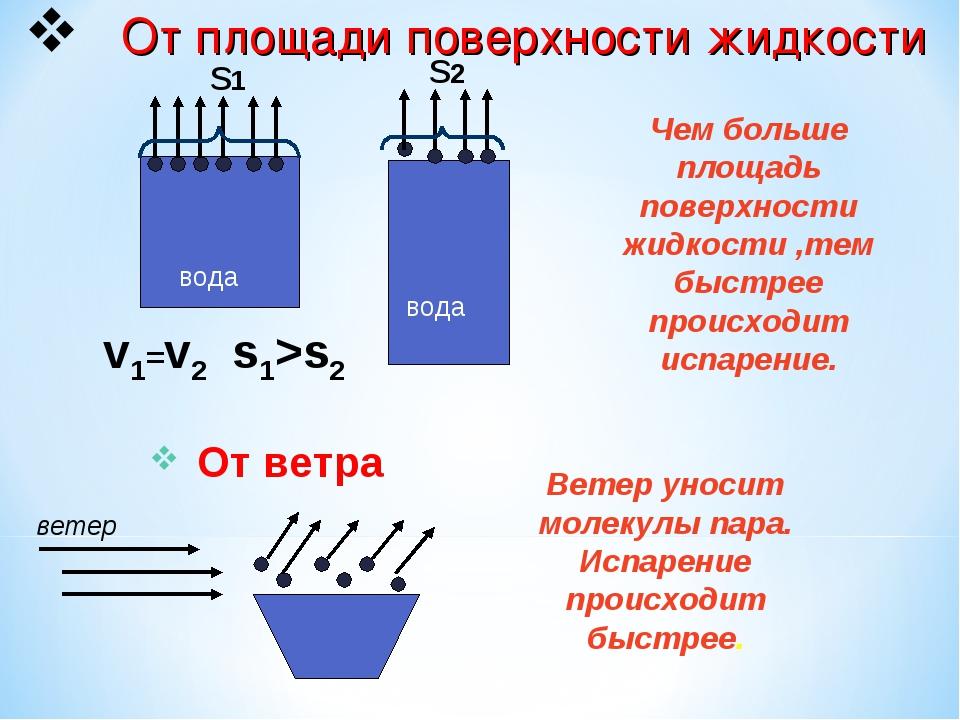 От площади поверхности жидкости вода вода v1=v2 Чем больше площадь поверхнос...