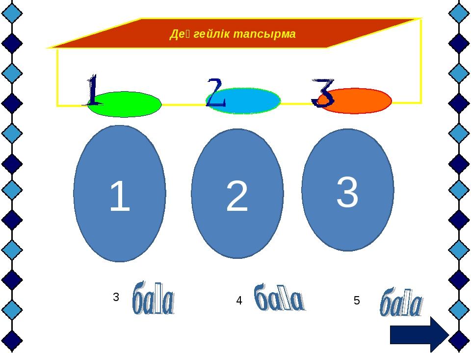 Деңгейлік тапсырма 1 3 2 3 4 5