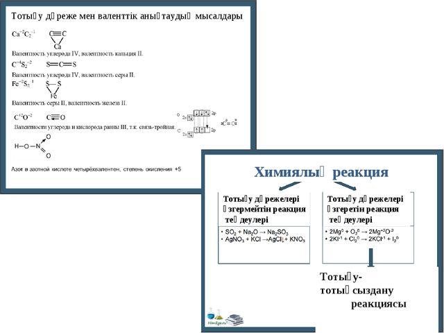 Тотығу дәреже мен валенттік анықтаудың мысалдары Химиялық реакция Тотығу дәре...