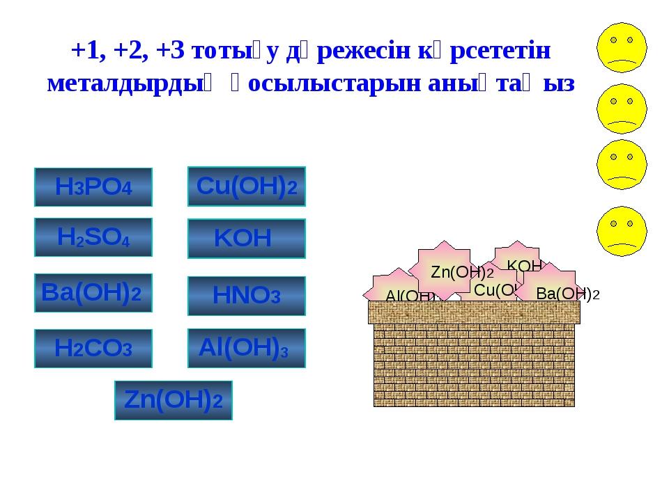 Al(OH)3 KOH Cu(OH)2 Ba(OH)2 Zn(OH)2 +1, +2, +3 тотығу дәрежесін көрсететін ме...