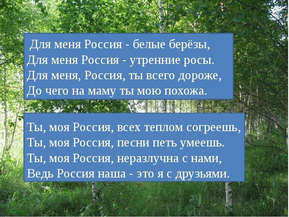 Ты, моя Россия, всех теплом согреешь, Ты, моя Россия, песни петь умеешь. Ты,...