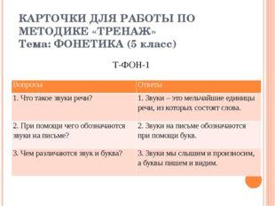КАРТОЧКИ ДЛЯ РАБОТЫ ПО МЕТОДИКЕ «ТРЕНАЖ» Тема: ФОНЕТИКА (5 класс) Т-ФОН-1 Воп