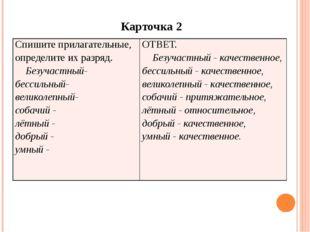 Карточка 2 Спишите прилагательные, определите их разряд. Безучастный- бессил