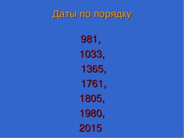 Даты по порядку 981, 1033, 1365, 1761, 1805, 1980, 2015