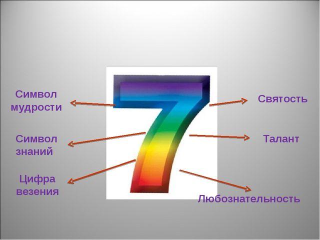 Символ мудрости Символ знаний Цифра везения Святость Талант Любознательность