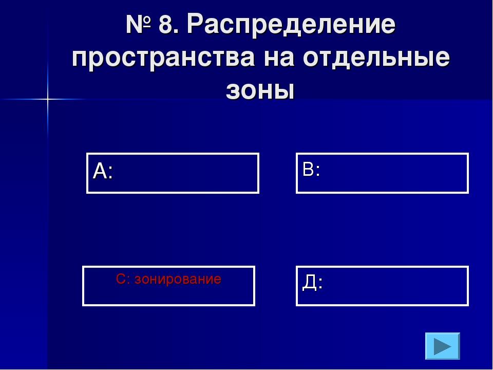 № 8. Распределение пространства на отдельные зоны А: В: Д: С: зонирование