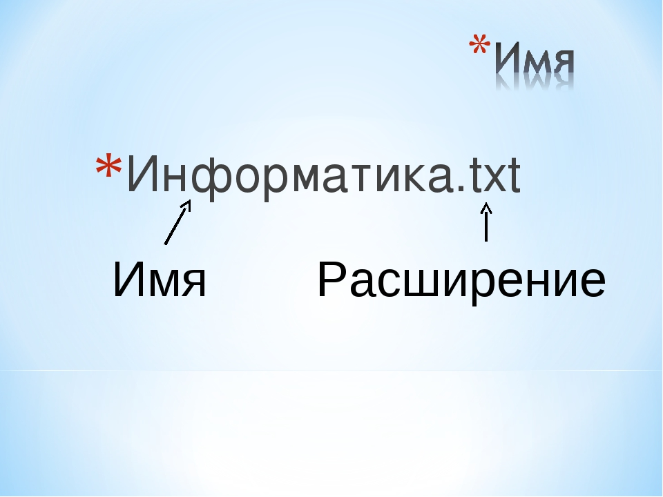 Информатика.txt Имя Расширение