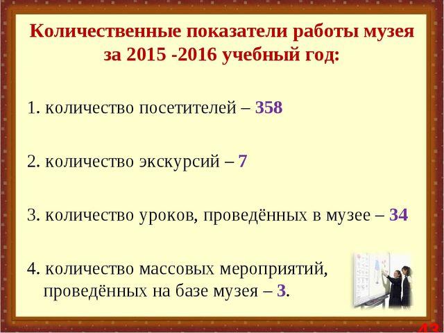Количественные показатели работы музея за 2015 -2016 учебный год: 1. количес...