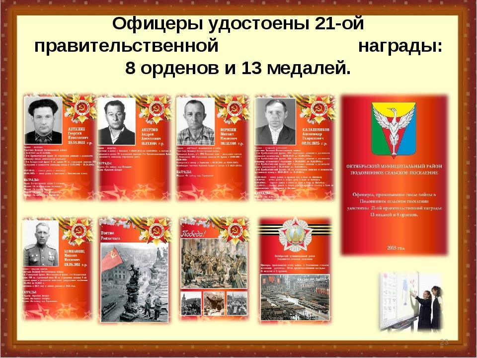 Офицеры удостоены 21-ой правительственной награды: 8 орденов и 13 медалей. *