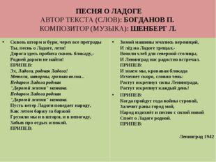 ПЕСНЯ О ЛАДОГЕ АВТОР ТЕКСТА (СЛОВ): БОГДАНОВ П. КОМПОЗИТОР (МУЗЫКА): ШЕНБЕРГ