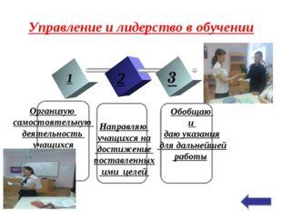 Управление и лидерство в обучении 1 2 3 TEXT Организую самостоятельную деятел