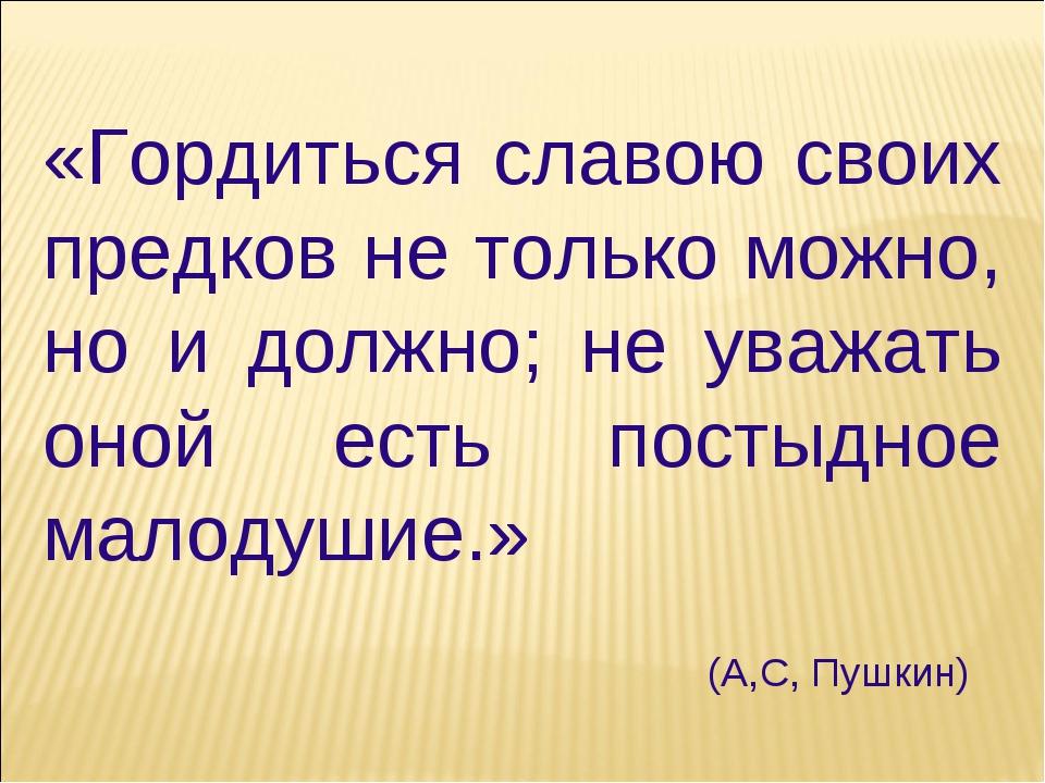 «Гордиться славою своих предков не только можно, но и должно; не уважать оной...